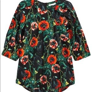 H&M Floral poppy black green shirt flowers Small